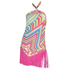 Stunning Emilio Pucci Multicolor Signature Print Fringe Mini Dress