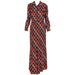 Yves Saint Laurent tailored challis print maxi dress 1970s  44