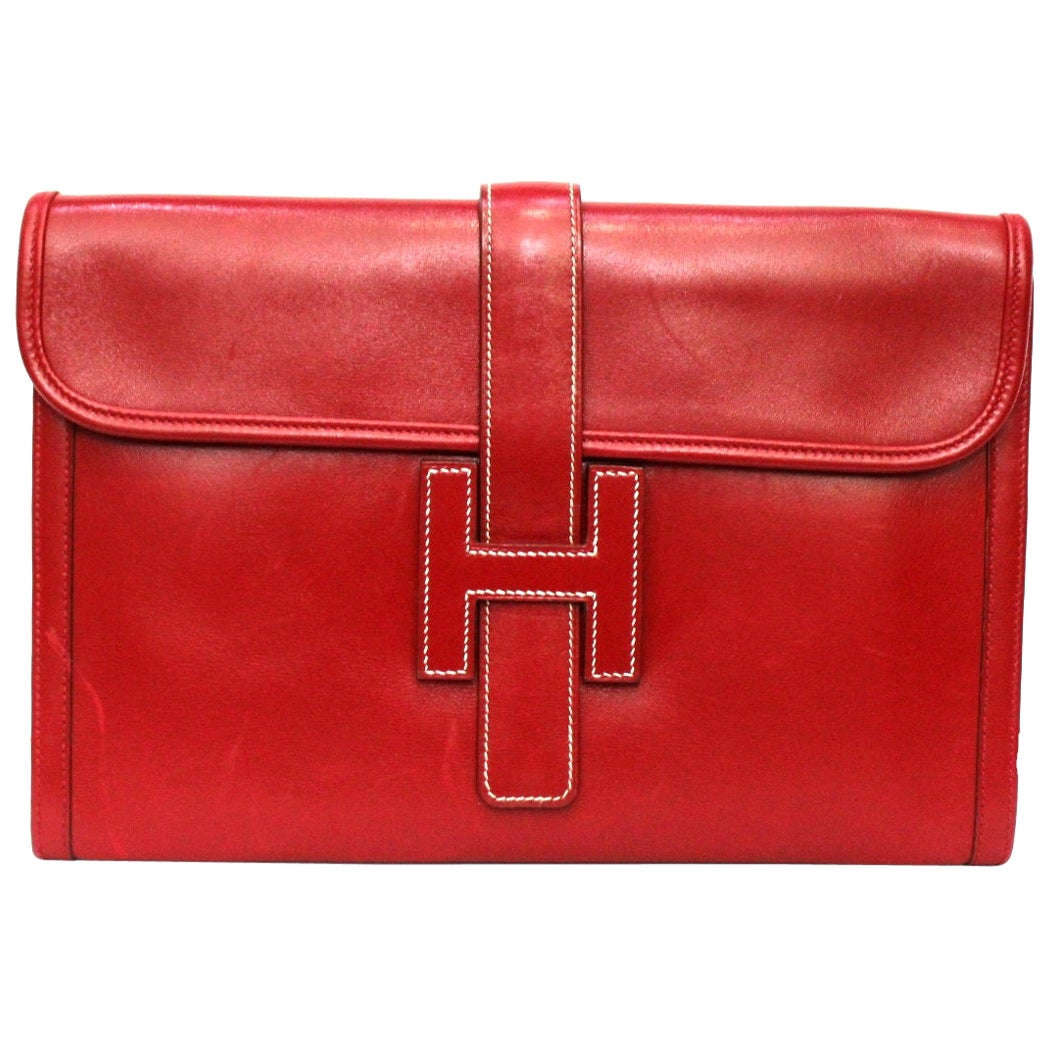 1994 Hermès Red Leather Jige Bag