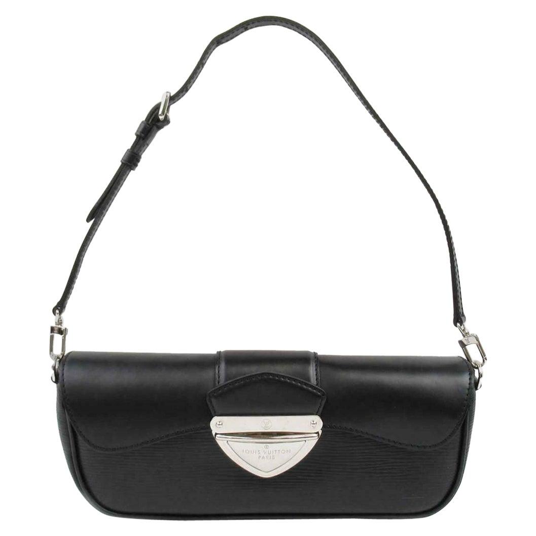 Louis Vuitton Black Leather Silver Small Top Handle Shoulder Pochette Flap Bag