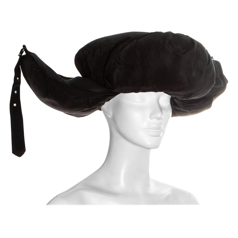 Jean Paul Gaultier black oversized puffer trapper hat, fw 1993