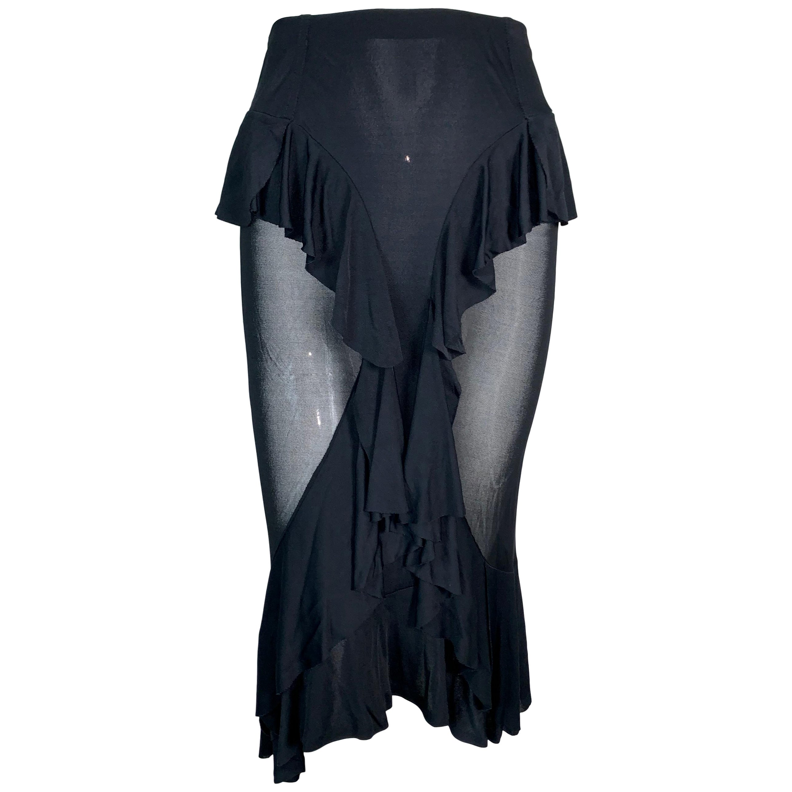 F/W 2003 Yves Saint Laurent by Tom Ford Sheer Black Ruffles Skirt