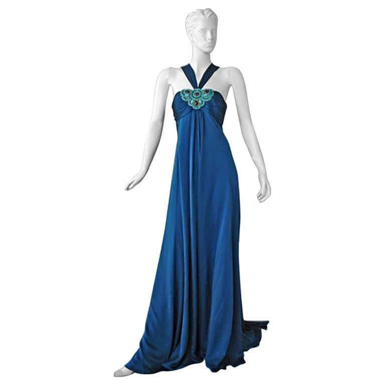 Andrew Gn $8.5K Art Deco Inspired Jeweled Halter Dress Gown with Train NEW! For Sale