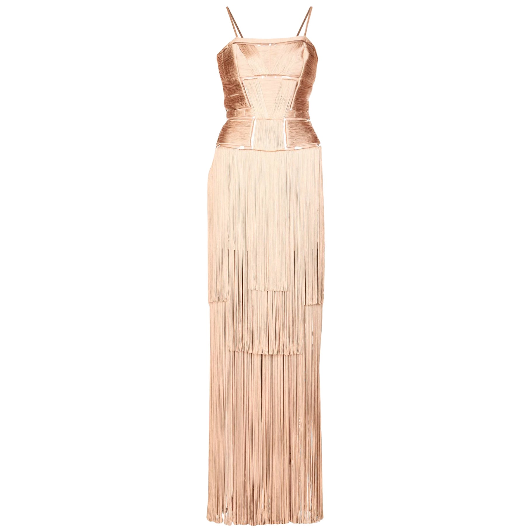 New Versace Nude Naked Spectacular Fringe Long Silk Corset Dress Gown It. 44