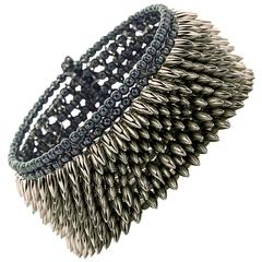 Intricate Handmade Eight Row Steel Hematite Glass Bead Flexible Cuff Bracelet