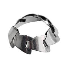 1970s Gucci Sterling Silver Modern Link Bracelet