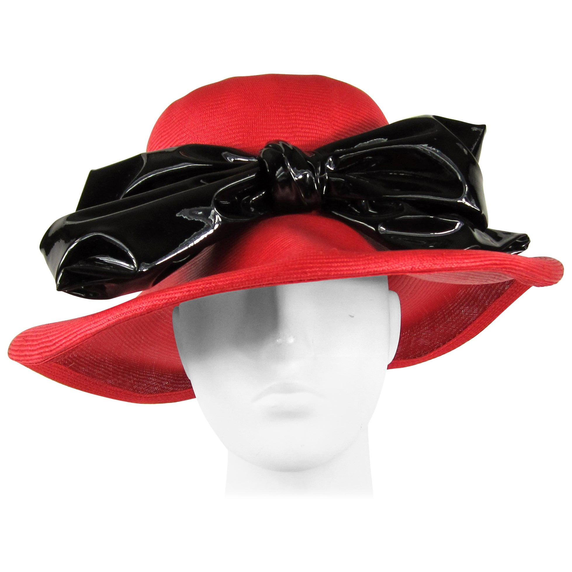 Vintage 1960s Red Mod Straw Black Bow Derby Hat