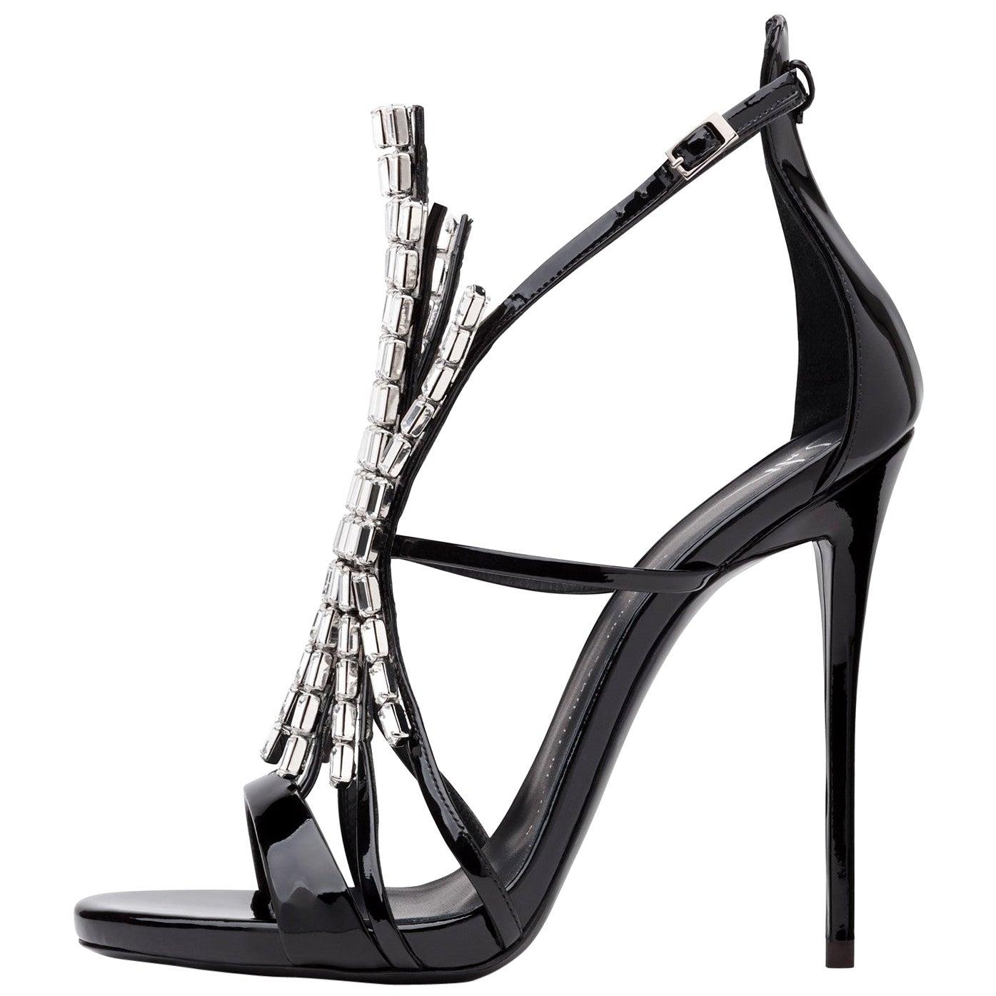 Giuseppe Zanotti NEW Black Patent Jewel Crystal Evening Heels Sandals in Box