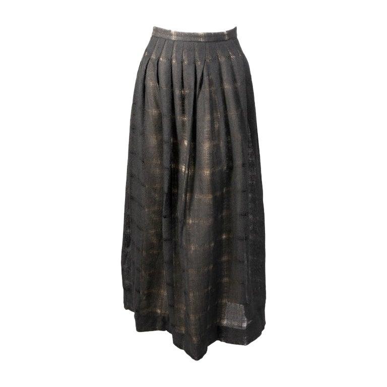 Sybil Connolly Dublin Hand Woven Lightweight Black Wool Evening Skirt