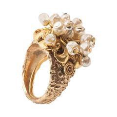 Miriam Haskell Pearl Fringe Ring