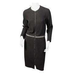 Chado Ralph Rucci Shagreen Trimmed Black Wool Dress
