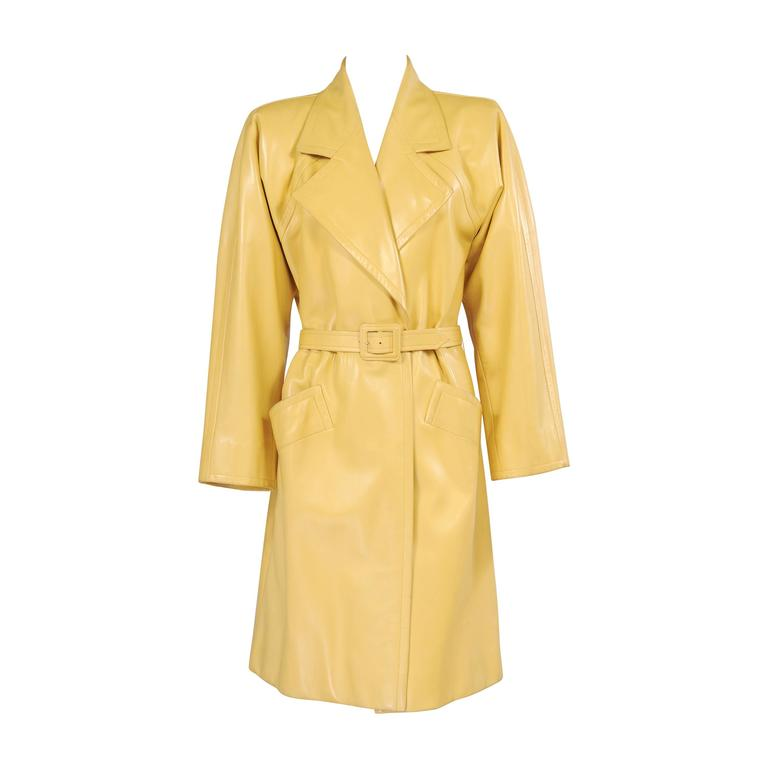 Givenchy Haute Couture Runway Worn Yellow Leather Trench Coat For Sale