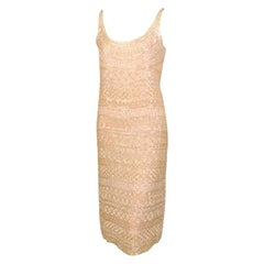 Halston Palest Peach Beaded Short Evening Dress