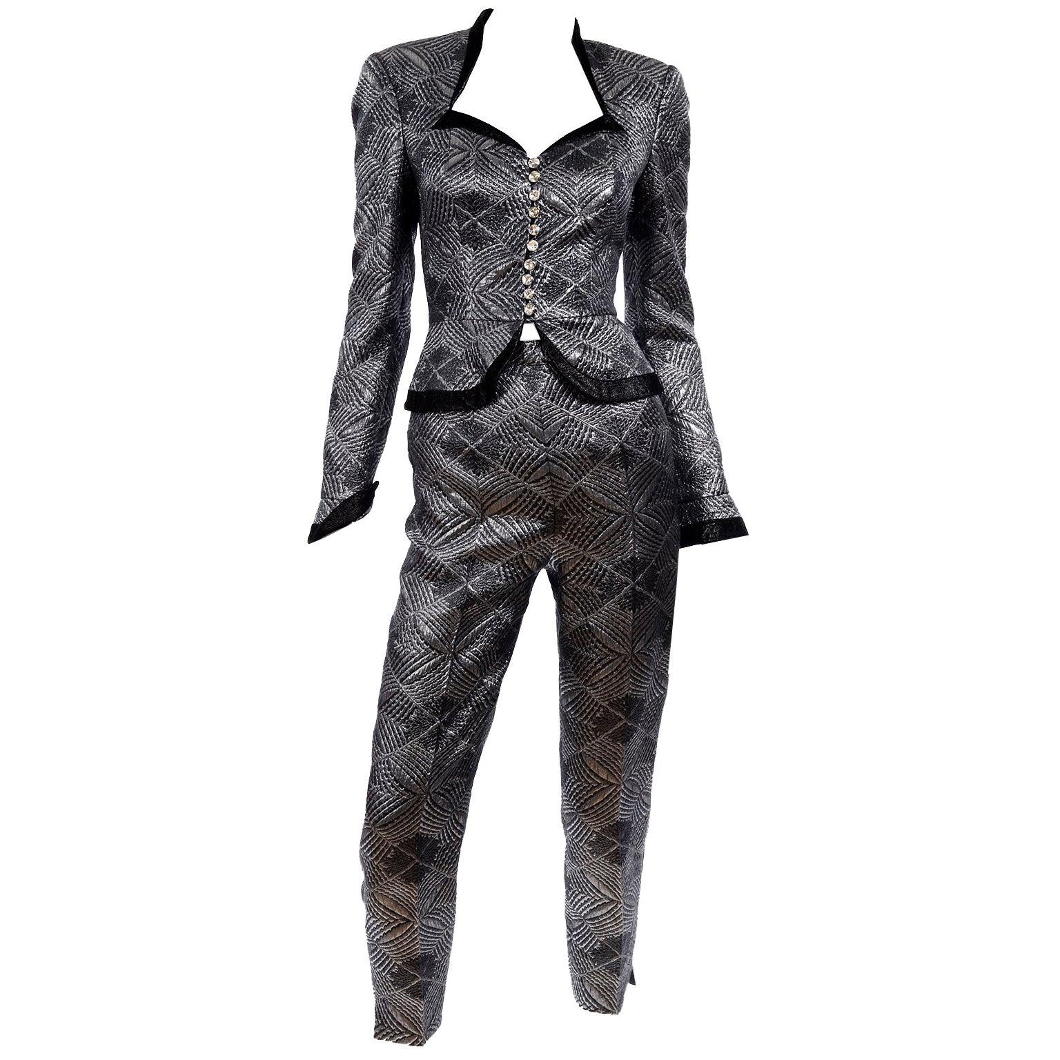 1990s Vintage Escada Couture 3pc Silver Lurex Evening Skirt Pants & Jacket