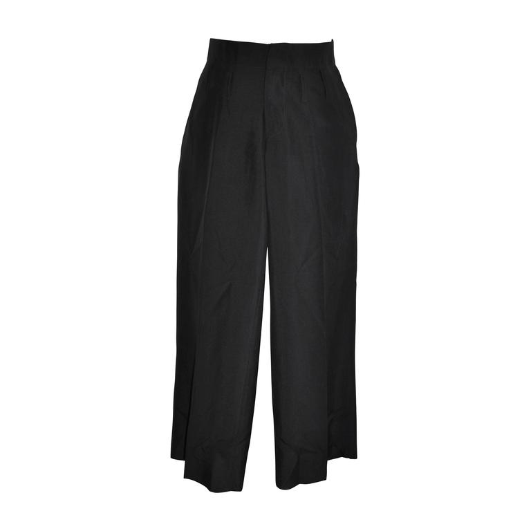 Romeo Gigli Low-Waisted Black Silk Trousers