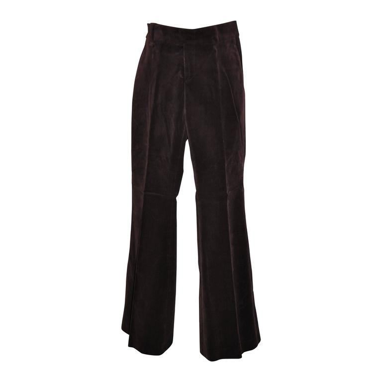 Gucci Deep Plum Brush Velour Trousers