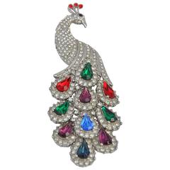 """Huge Multi-Color Rhinestone with Silver Hardware """"Peacock"""" Brooch"""
