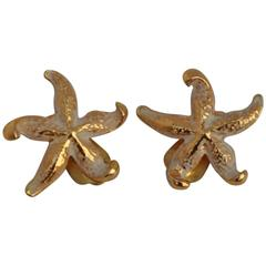 """Gilded Gold Vermeil with Enamel """"Starfish"""" Earrings"""