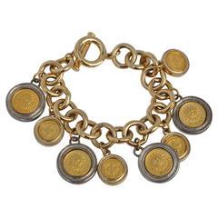 Givenchy Gilded Gold Multi Coin Charm Bracelet