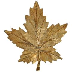"""Keyes (Canada) Gilded Gold """"Leaf"""" Brooch"""
