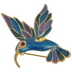 """Gold Vermeil & Enamel """"Humming Bird"""" Brooch"""
