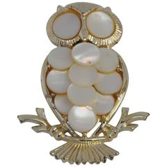 """Gilded Gold with Mother of Pearl """"Owl"""" Brooch"""