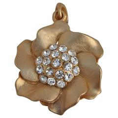 Gilded Gold Vermeil Floral with Rhinestone Pendant