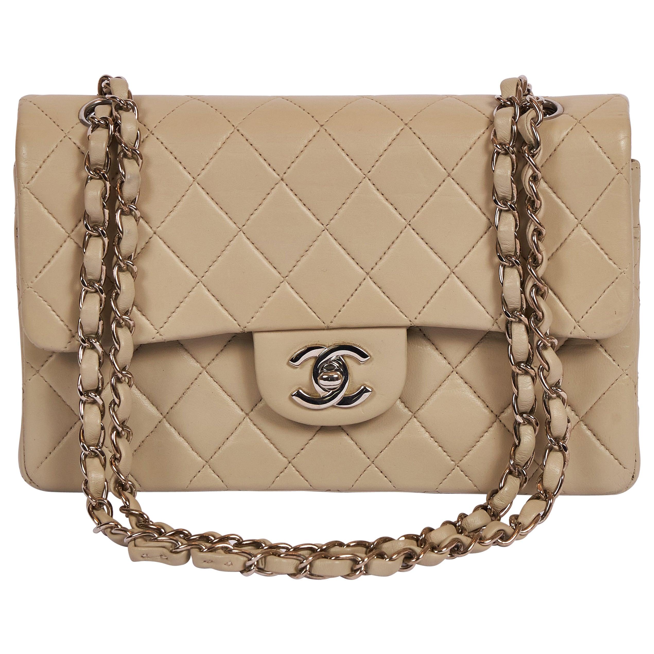 "Chanel Grey Cream 9"" Double Flap Silver Hardware Bag"