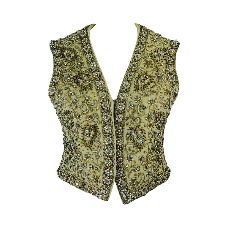 Marie McCarthy for Larry Aldrich gold sequin & rhinestone beaded vest 1960s