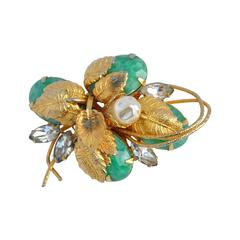 Hobe Large Gilded Gold with Jadeite, Pearl and Rhinestones Brooch