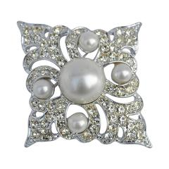 Large Sarah Conventry Gilded Silver with Pearl Brooch