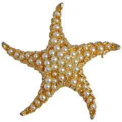 "Large Gilded Gold Vermeil ""Starfish"" with Micro Seed Pearls Brooch"