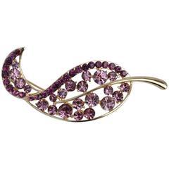 "Multi-Violet Rhinestone and Gilded Gold ""Leaf"" Brooch"