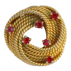 """Gilded Gold """"Twisted Rope"""" Brooch"""