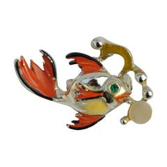 "Gilded Gold Vermeil with Enamel ""Goldfish"" Brooch"