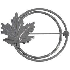 """Circular Silver """"Leaf"""" Brooch"""