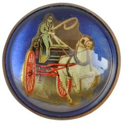 """Large """"Carriage & Horse"""" Brass-Frame Brooch"""