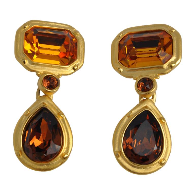 Bold Gilded Gold Vermeil Drop Earrings with Deep-Amber Crystals For Sale