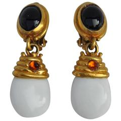 Thick Gold Vermeil with White and Black Accent Drop Earrings