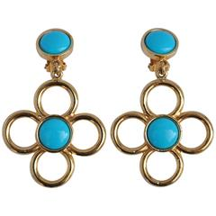 Gilded Gold Vermeil with Turquoise-Like Earrings