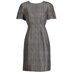 Adele Simpson Vintage Black + White Print Silk Sheath Dress with Short Sleeves