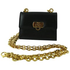 Salvatore Ferragamo Grained Black Leather Cross Body Micro Bag
