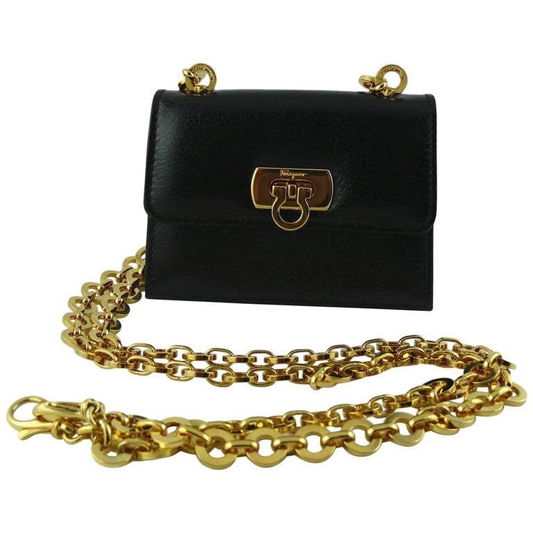 Salvatore Ferragamo Grained Black Leather Cross Body Micro Bag