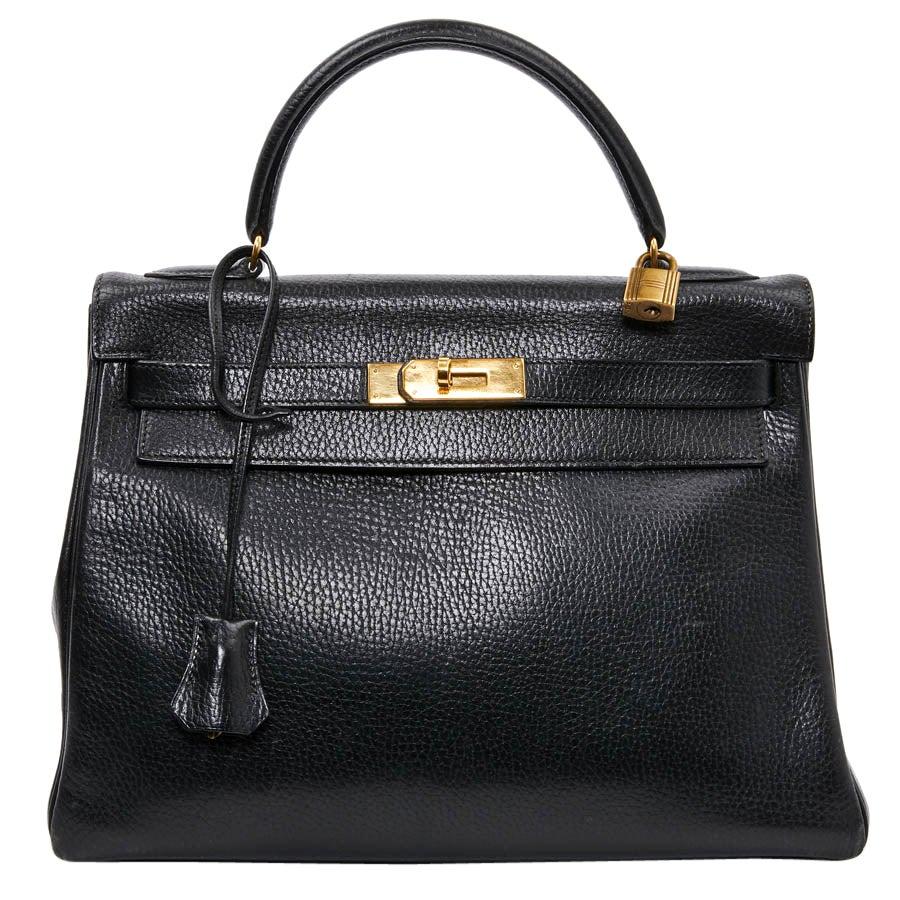 HERMES Kelly 32 Black Grained Leather Bag