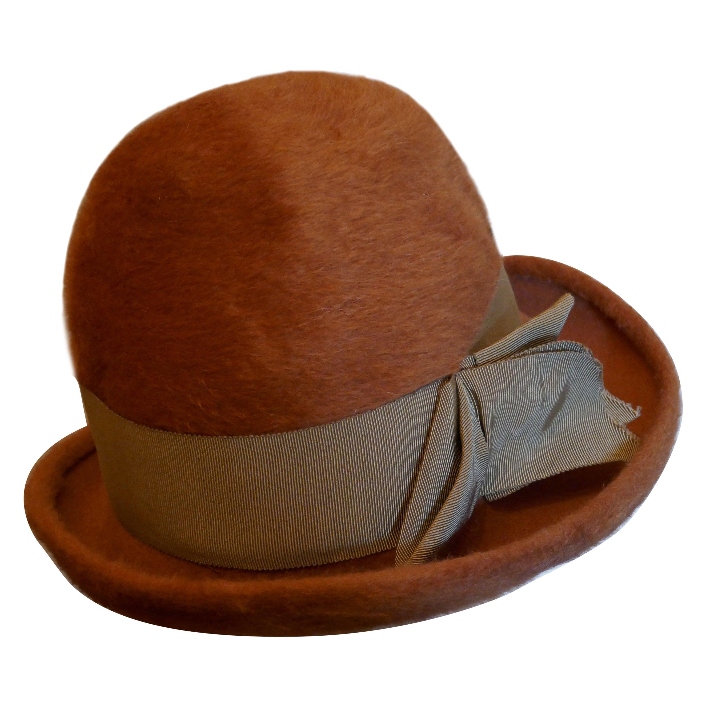 1960s Vintage Rust Coloured Furry Felt Wool Cloche Hat,By Edward Mann