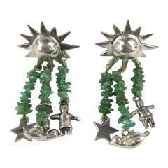 Sterling Silver Susan Cummings Multi Strand charm Dangle Earrings