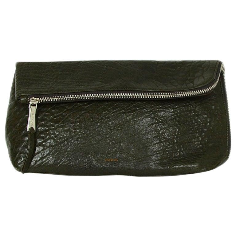 Rochas Dark Green Leather Zip Clutch Bag
