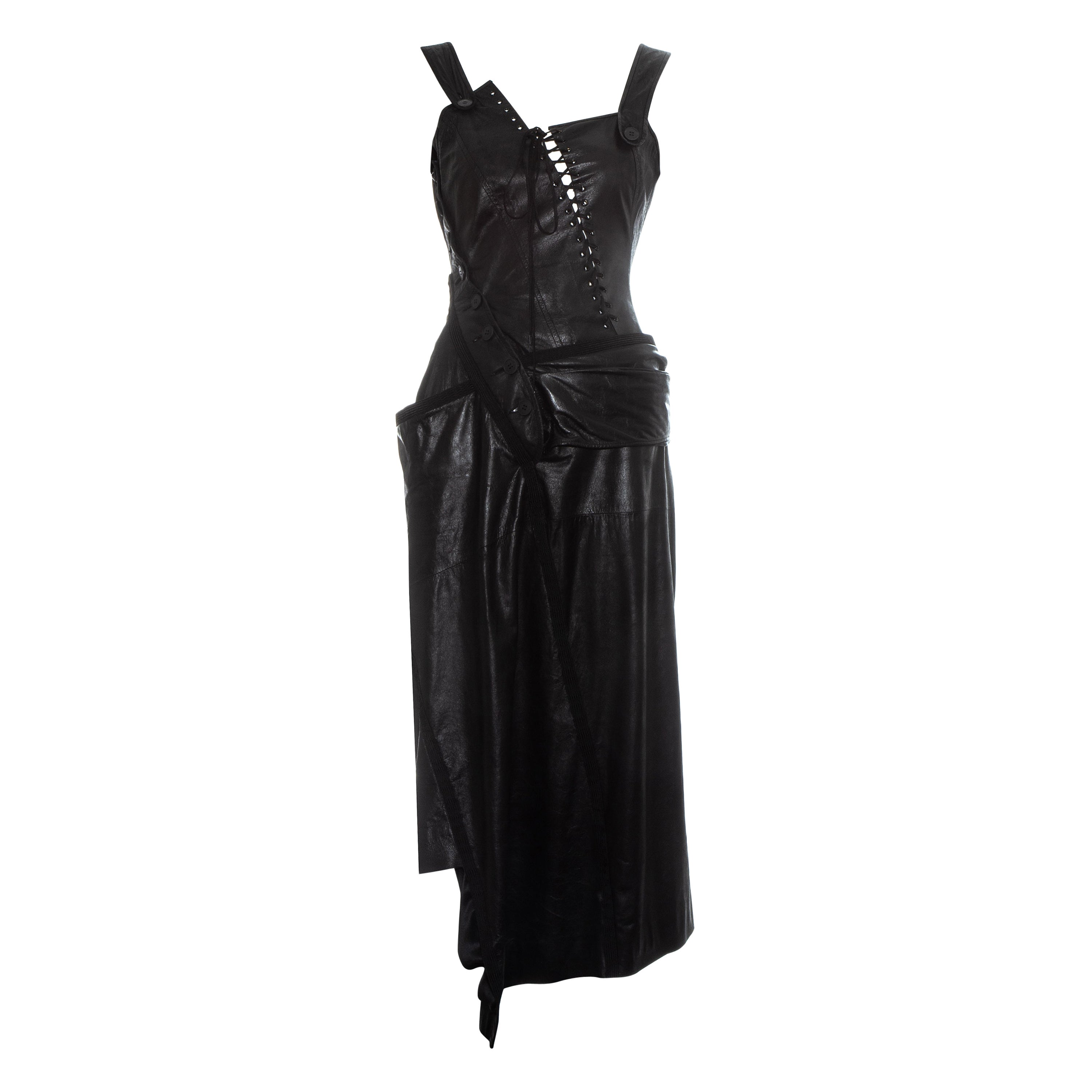 Christian Dior by John Galliano black leather draped and twisted dress, ss 2000