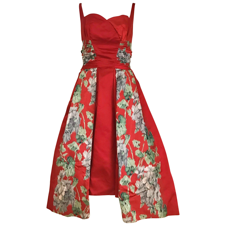 1950s Hattie Carnegie Red Silk Floral Print Cocktail Dress