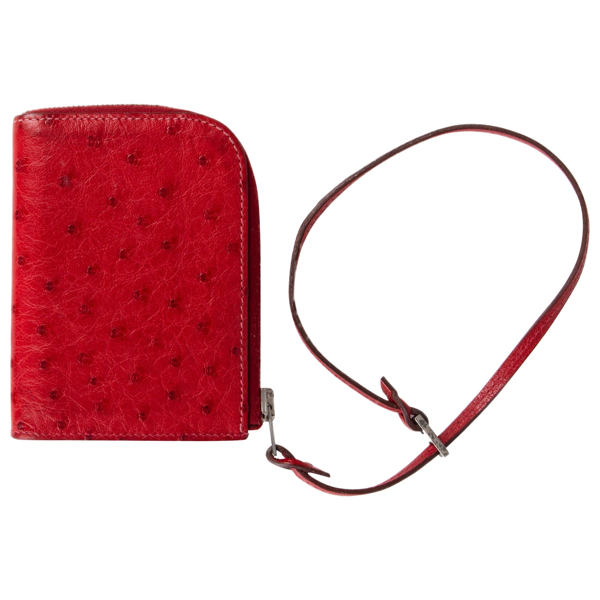 HERMES Rouge red OSTRICH Wallet